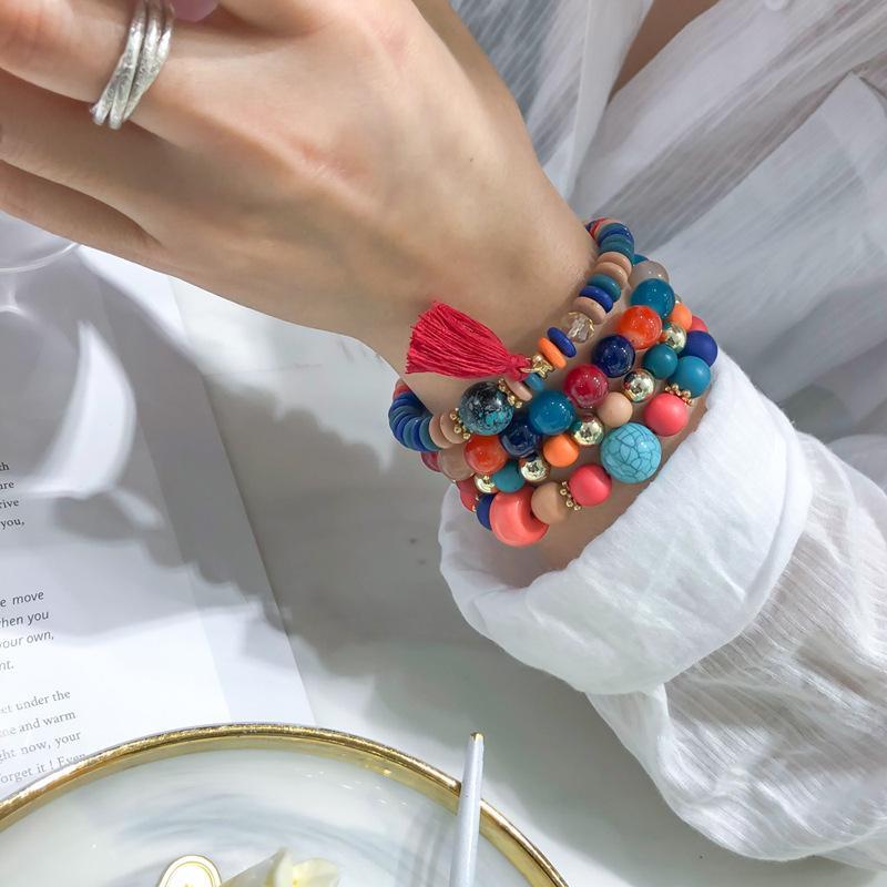 Богемные сосновые каменные браслет кисточники многослойные браслеты женские бусины