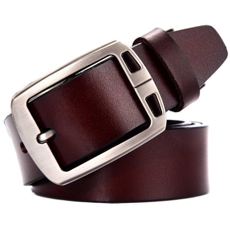 Ganze Kuh Echtes Leder Luxus Strap Männliche Gürtel für Männer Mode Classice Vintage Pin Schnalle Leder Jeans Männer Gürtel 210628
