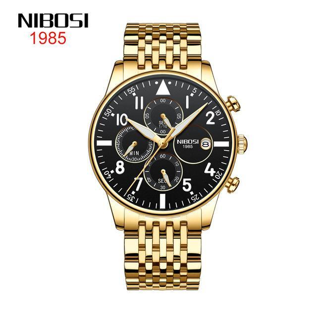 7 стиль Nibosi часы мужские 2368 бизнес мода мужские часы водонепроницаемые многофункциональные кварцевые часы 42 мм черная карабкальная раковина