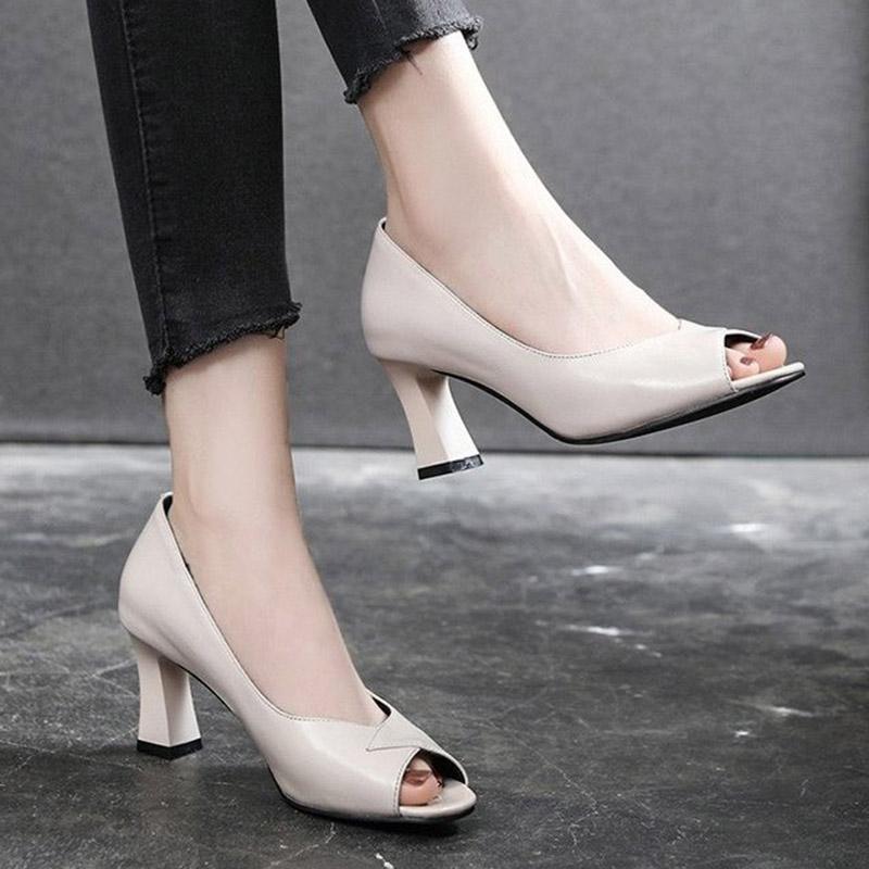 Artı Boyutu 41 Kadınlar Elbise Ayakkabı Peep Toe Yüksek Topuklu OL Ofis Lady Ayakkabı Sandalet Açık Burun Pompaları Bayanlar Ayakkabı Mujer 9041N