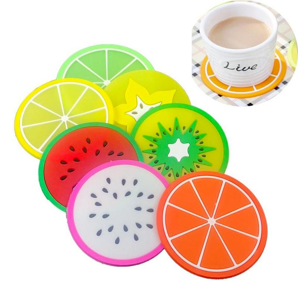 DHL Shipping Hot Coaster Mats Fruit Silicone Pattern Colorful Round Cool Cup Cushion Holder Thick Drink Tableware Coasters Mug Pad