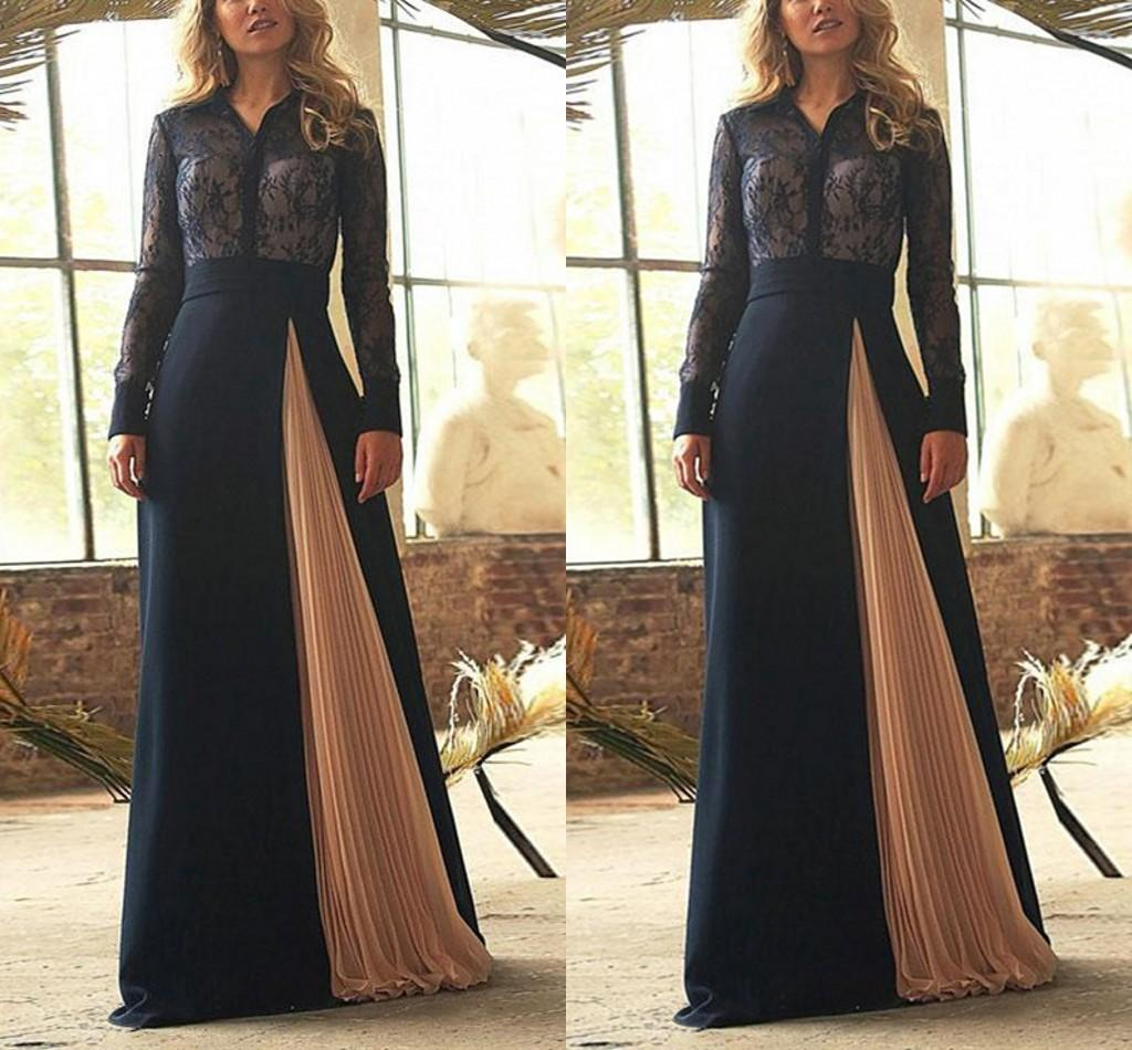Elegant Lace Mother Of The Bride Dresses A Line V Neck Long Sleeves Fromal Prom Gowns Pleats Skirt Gorgeous Evening Dress Plus Size