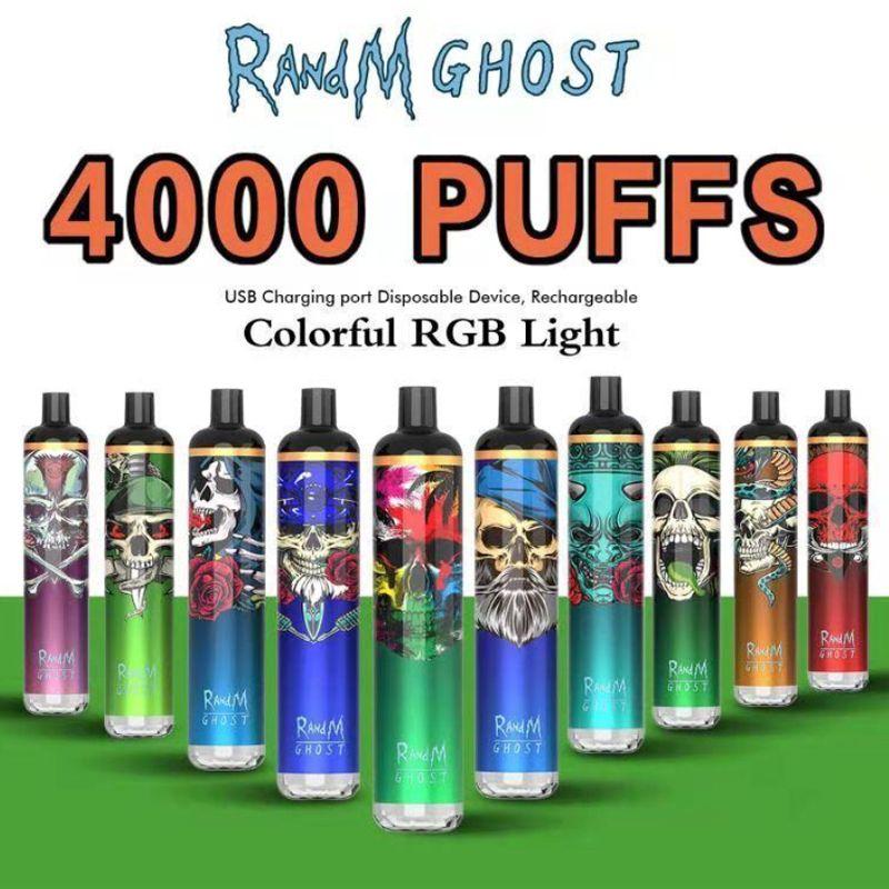 Vape descartável 4000 Puffs Randm Ghost Recarregável E Cigarros 650mAh Bateria 8ml Pré Cheio Pods Dispositivo