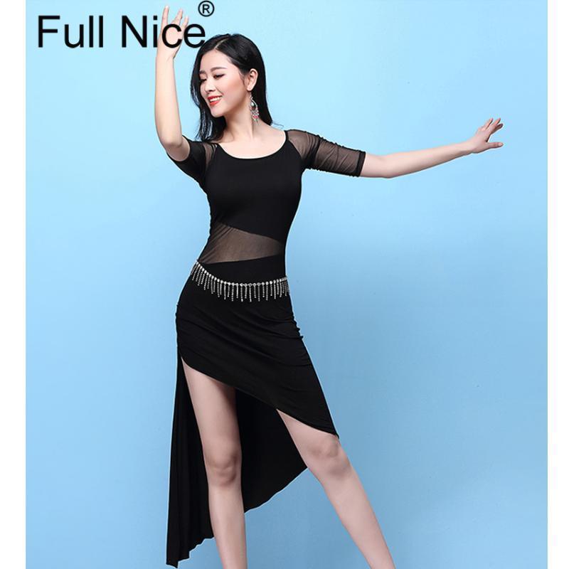 Сцена носят половина рукава сплошной марли без спинки верхний сексуальный нерегулярный танец живота юбка 2 шт. Установите женщин Женский костюм