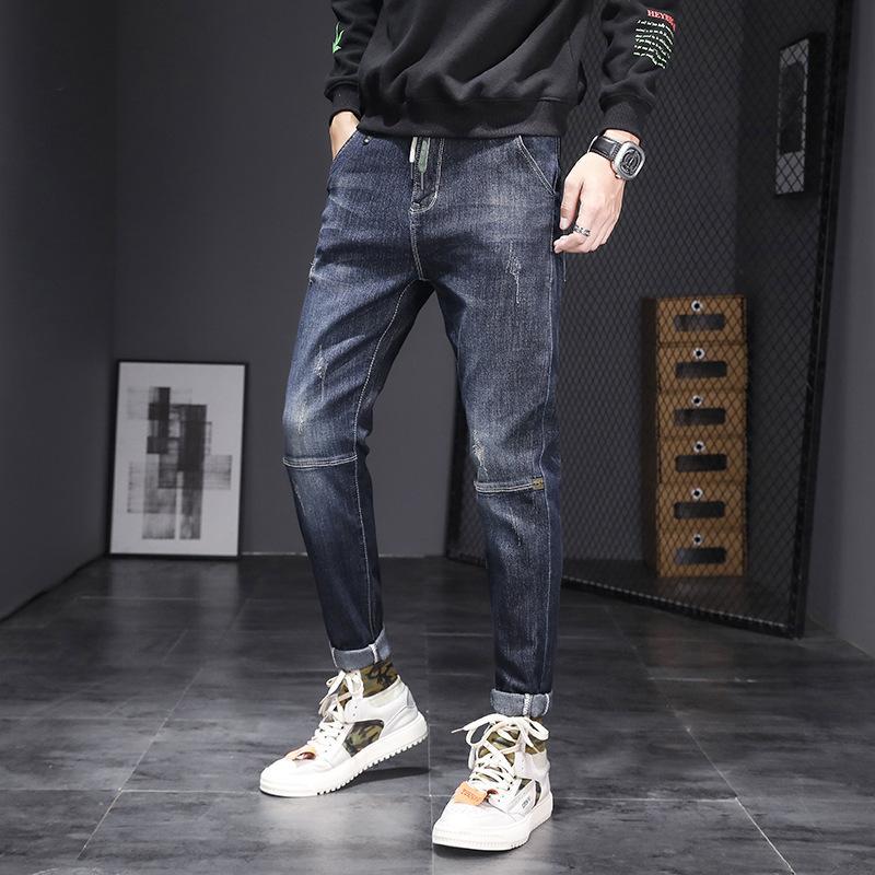Primavera e autunno Jeans Jeans Brand Hand Slim Elastico Gamba Elastico Gioventù moda lunga pantaloni