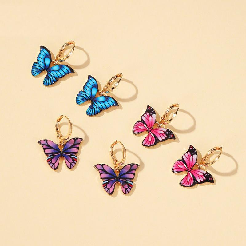 Neue Stil Bunte Schmetterling Ohrringe Temperament Traum Schmetterling Ohrringe Heiße Verkauf Ohrringe