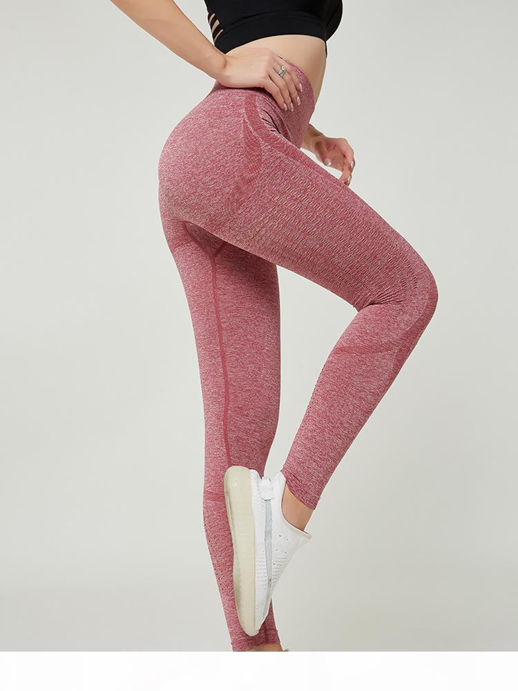 Yogaworld esvaziado fora pêssego calças de yoga mulheres estiramento apertado calças esportivas elevador nádegas mostram fina cintura alta corrida velocidade seca nove minutos