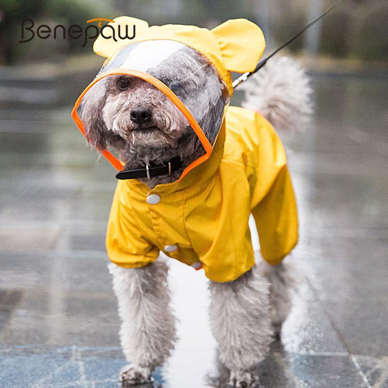 Seekaue Nette kleine mittelgroße Haustierhund Regenmantel mit Kapuze Leichte dauerhafte atmungsaktive Welpenhundkleidung wasserdichte Jacke Mantel Q0305