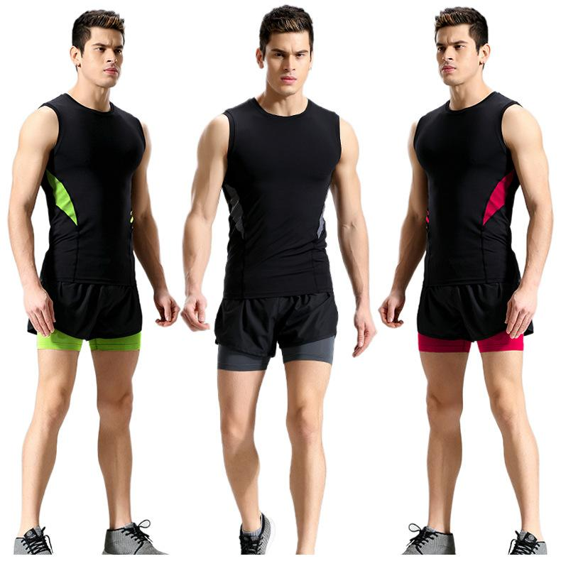 Men Sports Shorts Suit Men's Fashion Elastic Tight-fitting Quick-drying Vest Double-layer Running Shorts Fitness Clothes Summer 2021