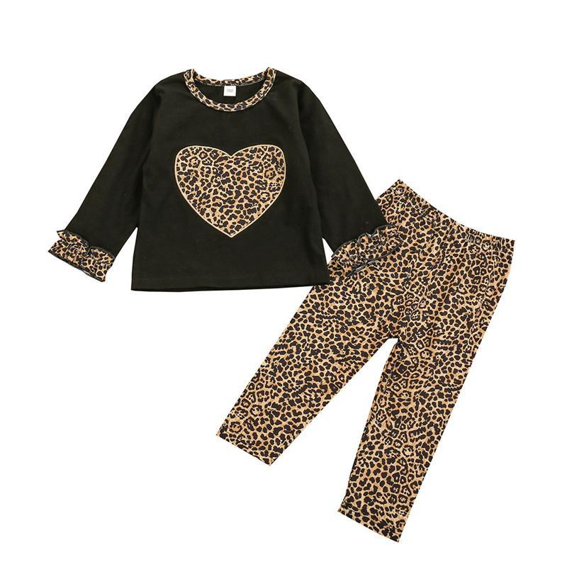Clothing Sets 3-36M Baby Girl Casual Outfits Long Trousers Suit Fresh Heart Patchwork Pullover T-Shirt And Leopard Pants Kids Girls Set