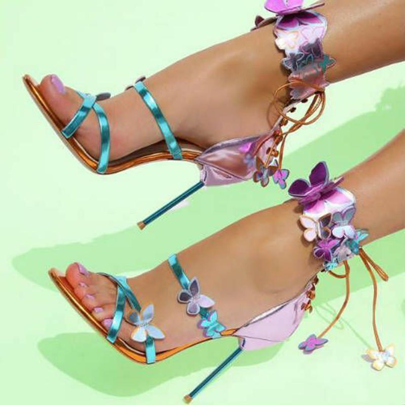Tatlı Uyum Zarif Ünlü Pist Ayakkabı Kadın Lace Up Metalik Deri 3D Kelebek Gladyatör Sandalet Mujer Stiletto Pompaları 210302