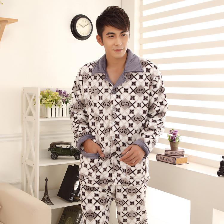 Мужские сонные одежды зима плюс размер 3XL фланель рождественские пижамы мужские толстые флисовые теплые клетки набор человек вскользь домашний носить pijamas