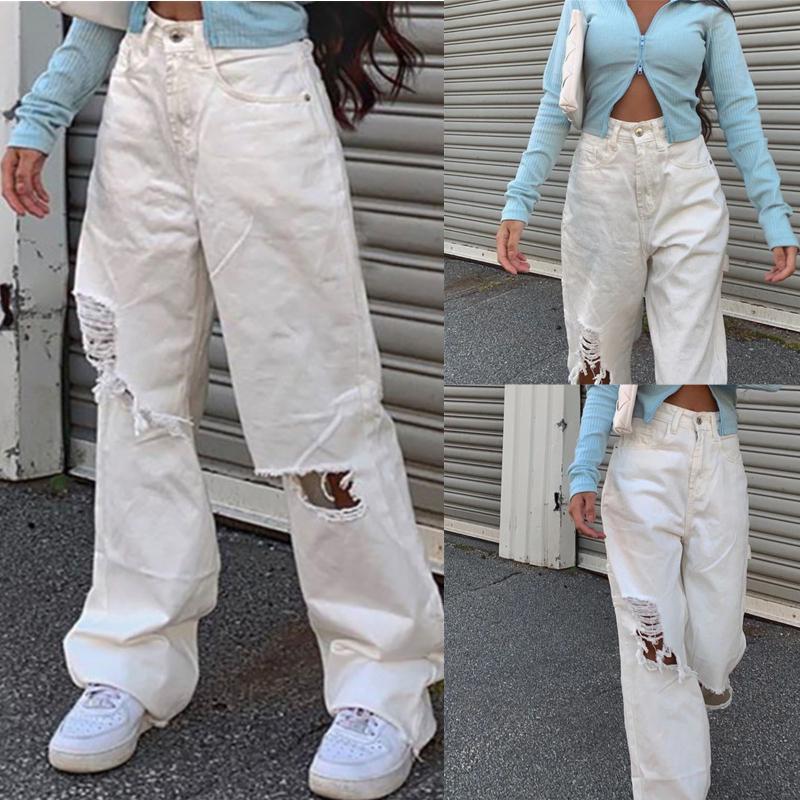 Frauen Jeans Telotuny 2021 Frau Denim Weibliche Hohe Taille Button Tasche Feste Farbe Frauen Baggy Löcher Hose Lose Hosen