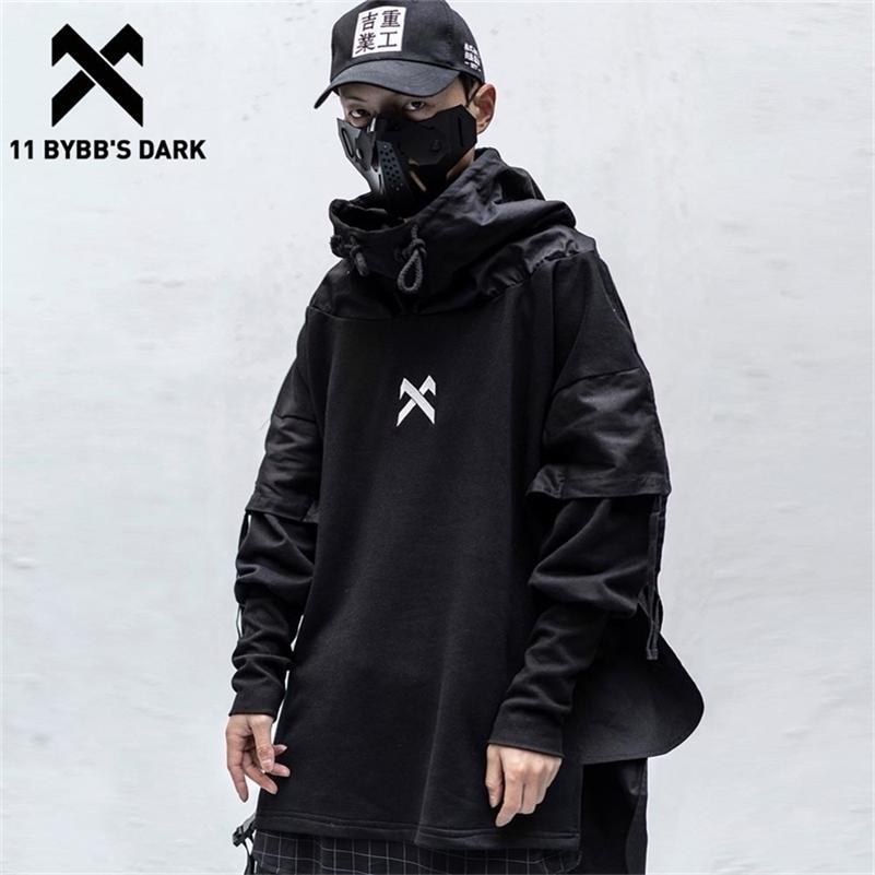 11 BYBB's Dark Japonês Streetwear Homem Hoodies Hip Hop Bordado Pullover Patchwork Falso Dois Darkwear Tops Techwear Hoodies LJ201029