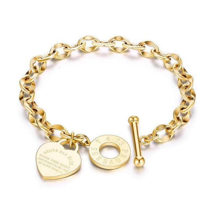 3 Colors Available High Quality Bracelet For Women Type O Charm Love Heart Bracelets Stainless Steel Titanium Steels Lady Jewelry Girlfriend Gifts