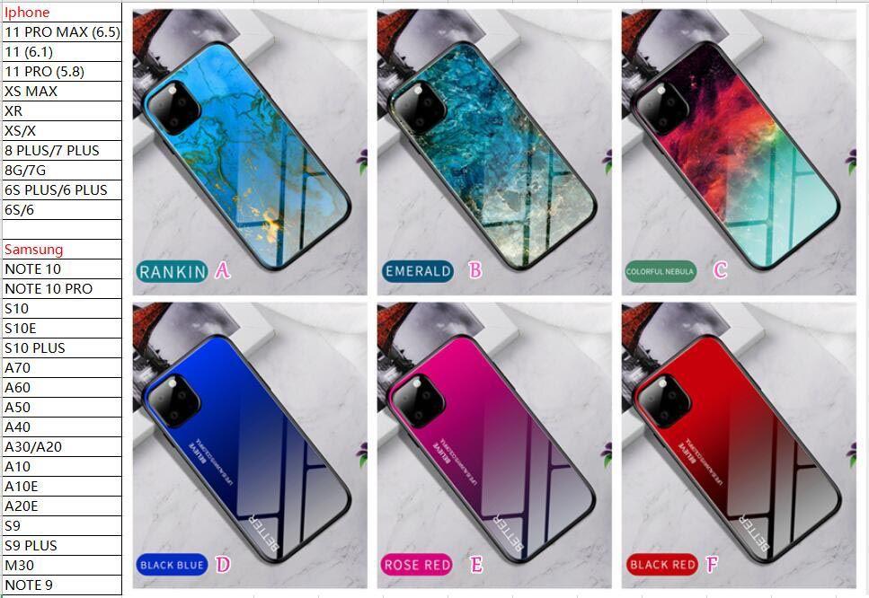 Tempered Glass Hard Case For Redmi 8 8a Note 8 Pro Note 7 Xiaomi CC9 CC9E K20 9SE 9 Marble TPU Gradient Dual Hybrid Luxury Phone Skin Cover