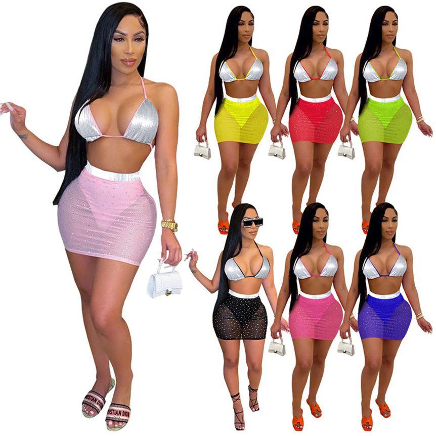 Frauen Sexy Schwimmanzug Pailletten Bikini Sets BH + Mesh Sheer Mini Röcke Mode Badeanzug Bodycon Swim Wear Sommer Kleidung 4567