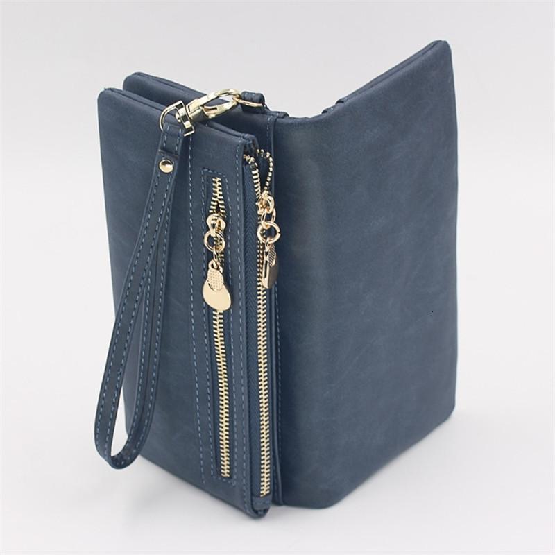 Mode Frauen Portfolios Müll Polnisch Leder Brieftaschen Doppel Rits Day Kupplung Pure Armband Portfolio Subventionen Handtaschen Cartesira Feminina