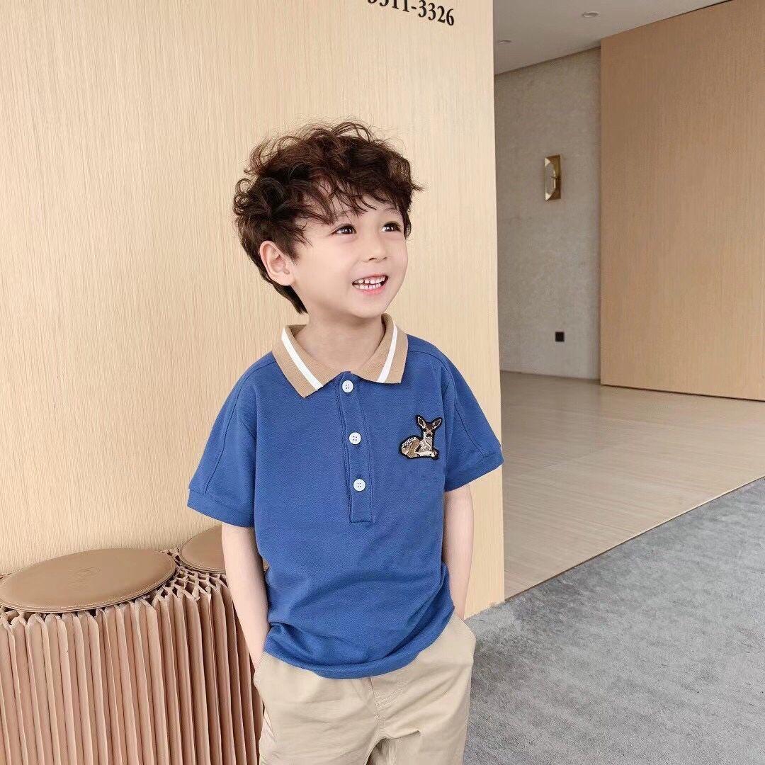 2021 Yeni çocuk Yaz Pamuk Kısa Kollu Gömlek Bebek Erkek Kız Katı Renk Polo Gömlek 2-14Y Çocuklar Polo Giysileri Dış Giyim