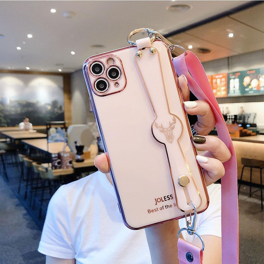 Электропластирующий iPhone 12 Чехол для телефона с запястным ремешком Crossbody Ranyard для iPhone 11 Pro Max XR XS MAX 6 7 8 PLUS для OPPO
