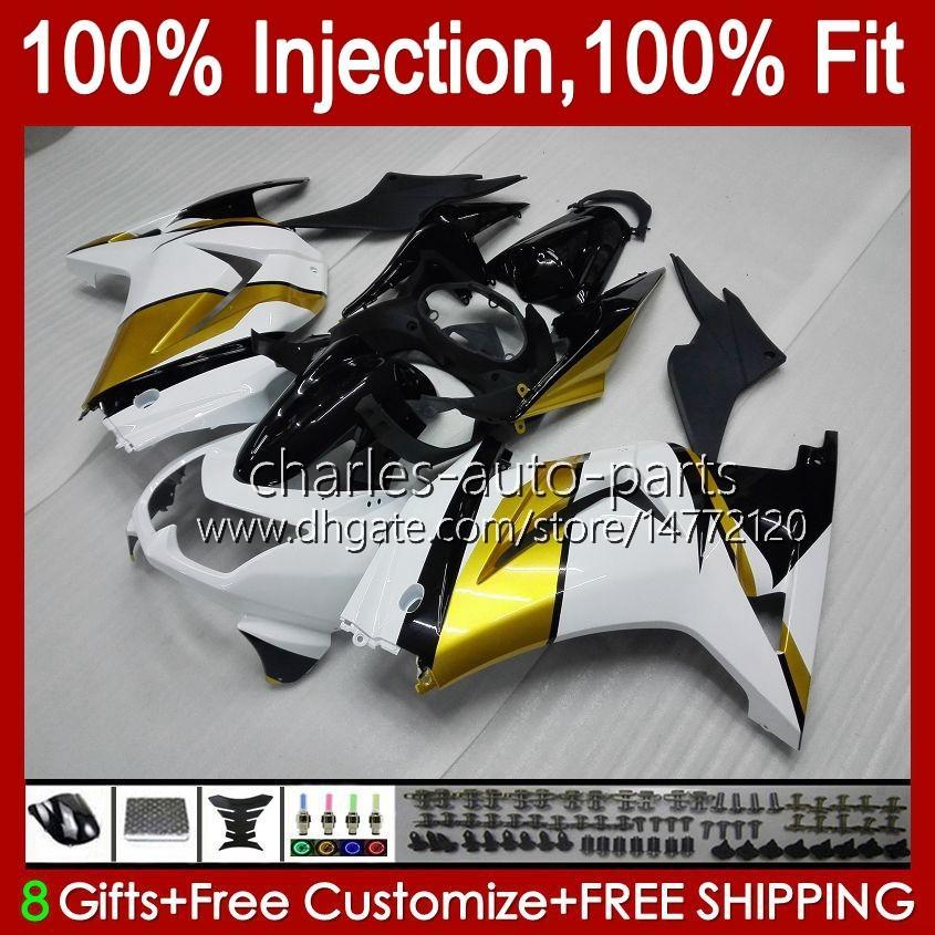 Injectie voor Kawasaki Ninja ZX250R EX250 Golden White 2008 2009 2010 2011 2012 13HC.122 EX250R ZX-250R ZX250 ZX 250R 08 09 10 11 12 Kuip