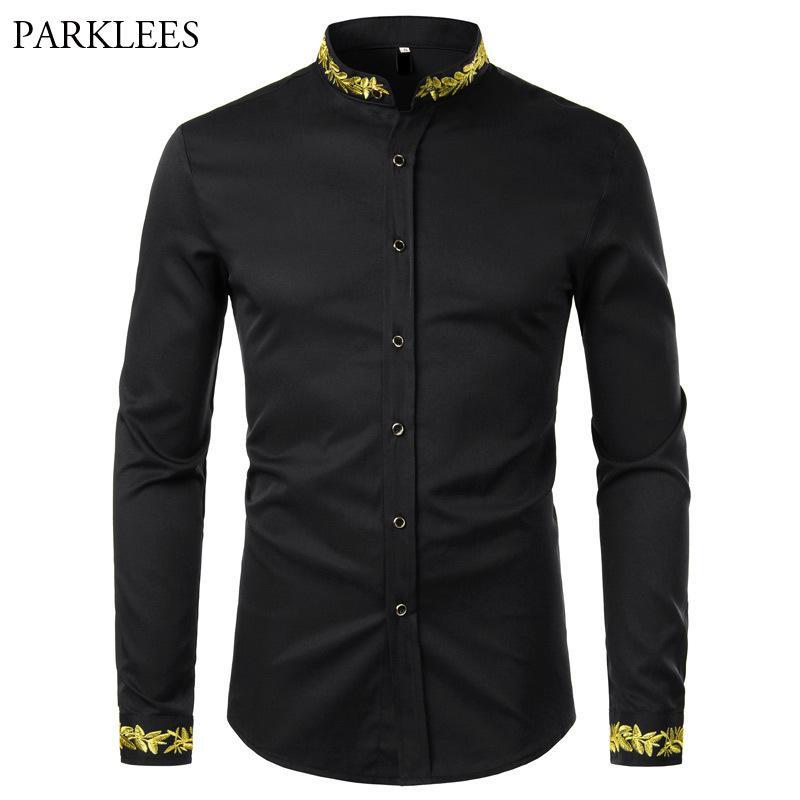 Camicia da ricamo in oro nero Uomini Primavera New Mens Dress Shirts Stand Collar Button Up Shirts Chemise Homme Camisa Masculina 210225