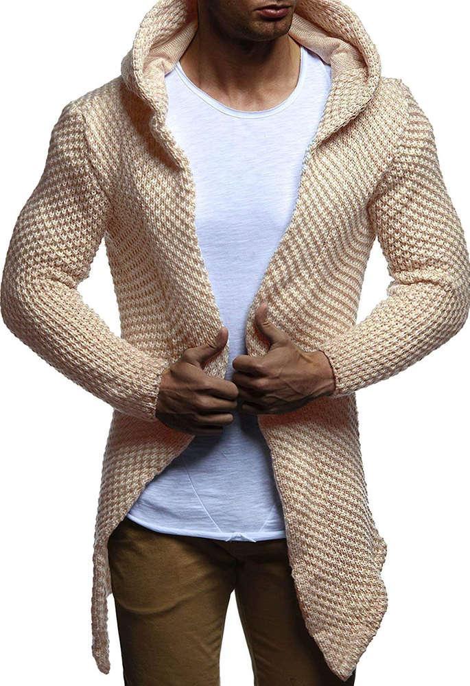 Осень 2021 Новая мужская мода с капюшоном кардиган свитер пальто Trend трикотаж тонкий тренд