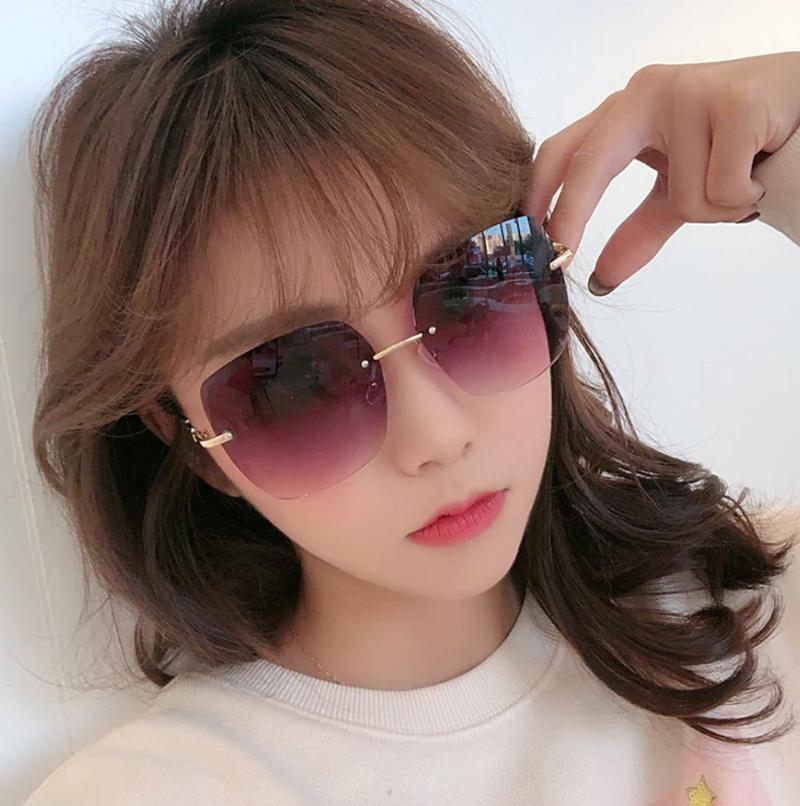 9026 European and American Fashion Women's Sunglasses Frameless Cut-edge Diamond Sunglasses Metal Frame UV Protection Glasses