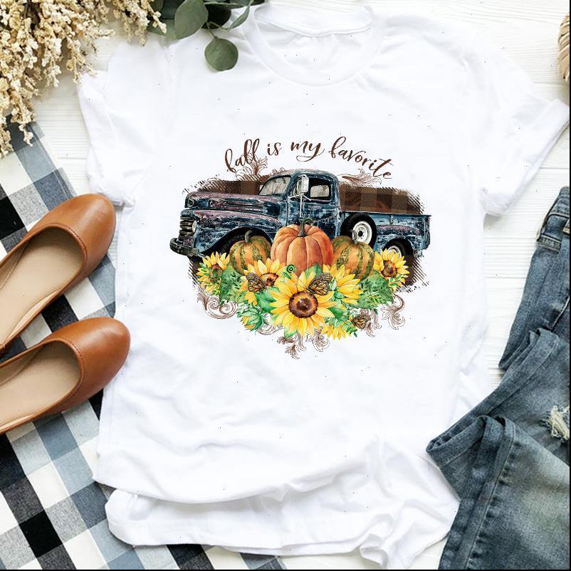 Kadınlar Lady T Gömlek Çiçek Kamyon Kabak Cadılar Bayramı Şükran Günü Baskı Bayan Giysileri Tişört için Tişört Kadın Top Grafik