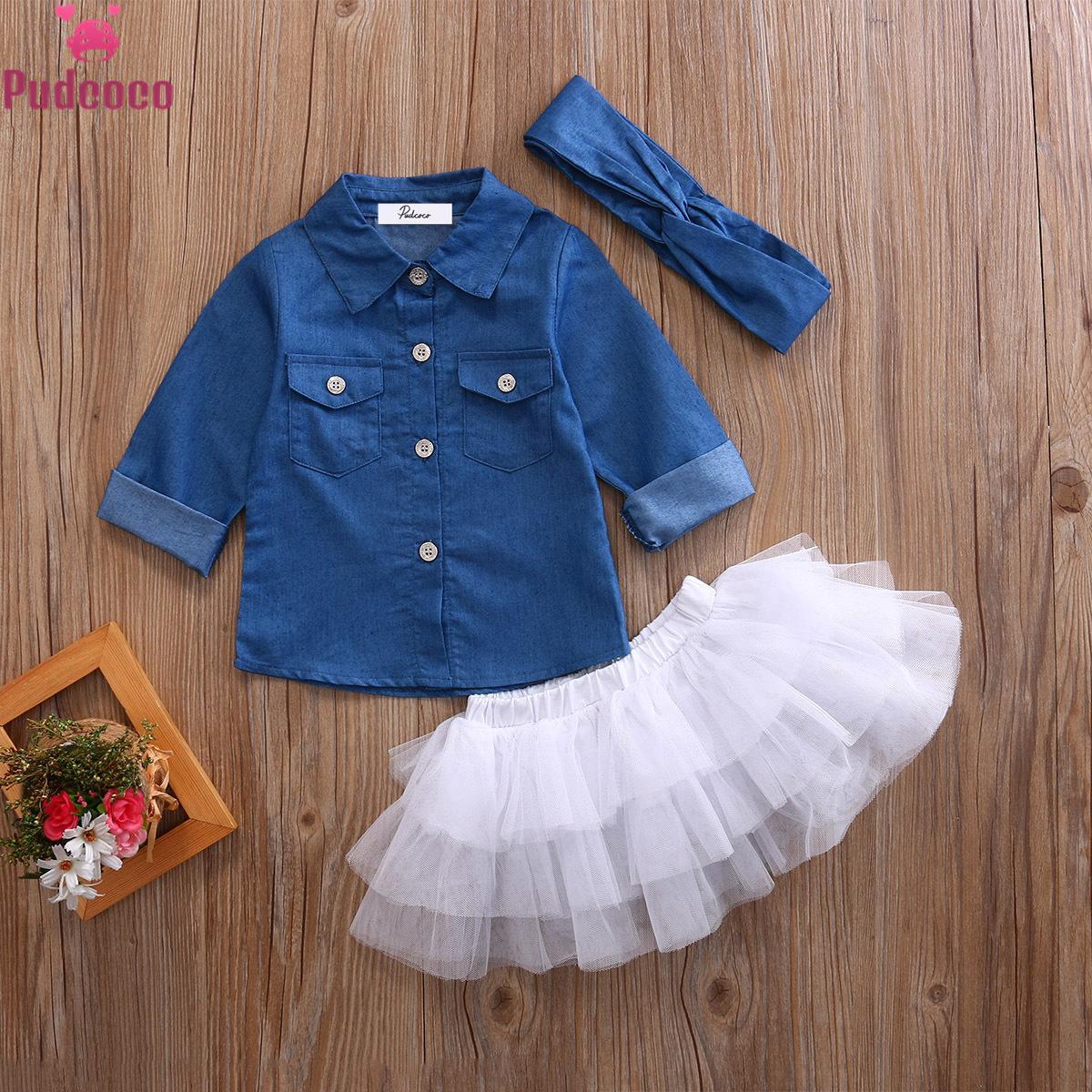 Baby Sommer Kleidung Sets Baby Mädchen Kleidung Denim Hemd Top + Tutu Röcke + Stirnband 3 stücke Outfits Sets 0-5T