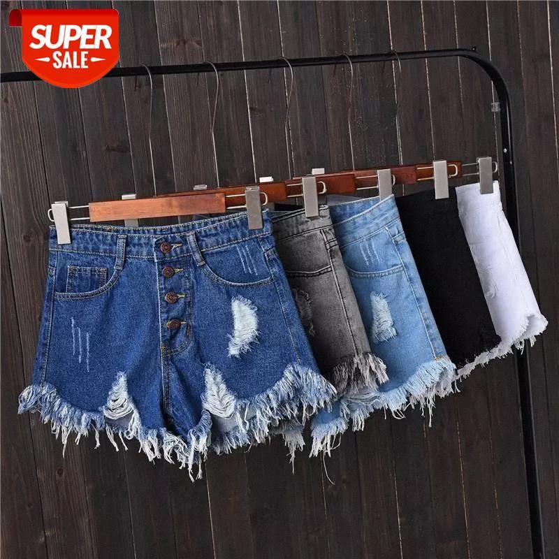 Cool Surdimensionné Femmes Shorts Femme Harajuku Casual Été Haute taille Taille de la fourrure à fourrure Plus Taille Taille Sexy Biker Shorts Jeans # Pa7z