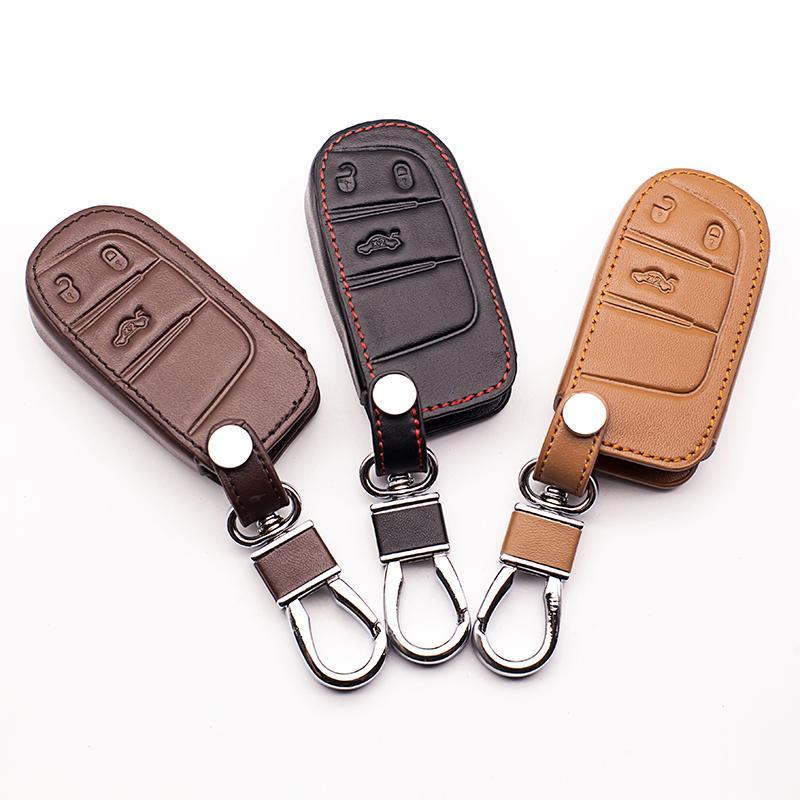 Custodia per cassa chiave in pelle per FIAT / per Jeep Cherokee Compass Patriota Dodge Journey Chrysler 300C Catena chiave per auto per Jeep Key Fob