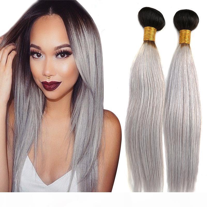 Brazilian Virgin Human Hair Weft Extensions 1b grey Straight Human Hair Bundles Double Weft Weaves 3pcs lot DHL Free Shipping