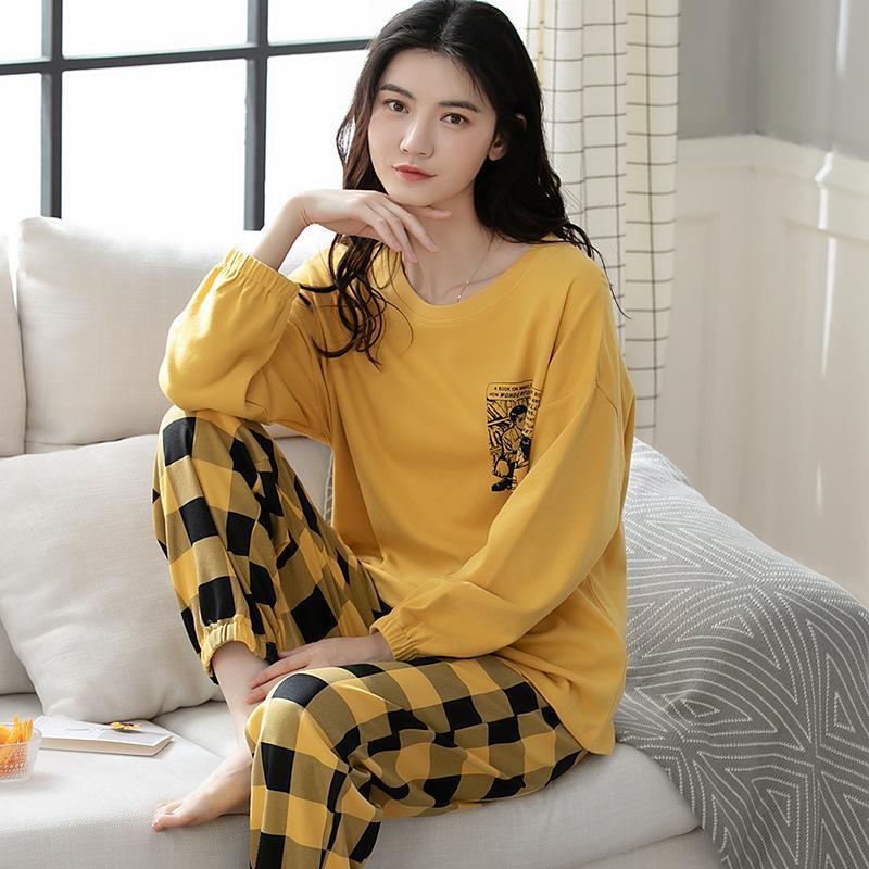 Mujeres de manga 100% pijamas para algodón en otoño largo e invierno.