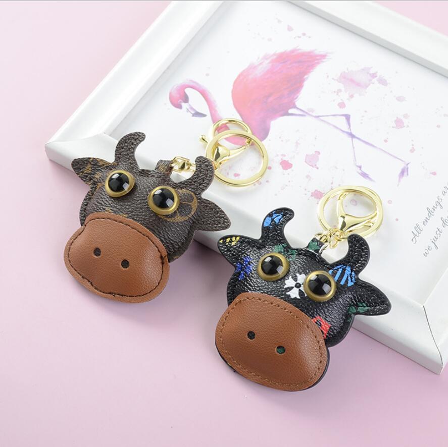 Wholesale cate cow designer ключ пряжка сумка автомобиль брелок handmade кожаные животные брелок мужчина женщина кошелек сумка подвеска аксессуары подарки