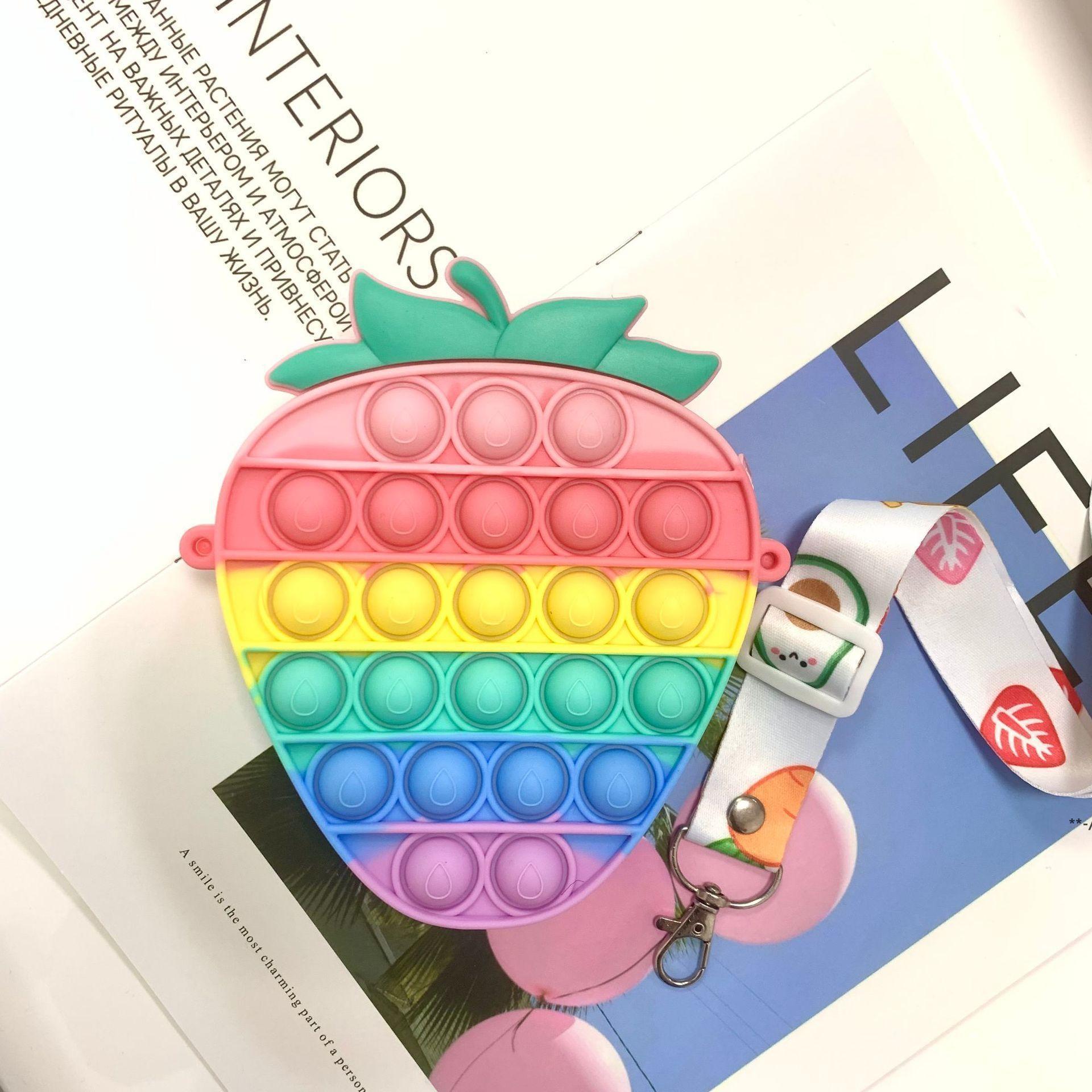 Fidget игрушки монеты монеты кошелек красочные толчок пузырькового сенсорного душистой стресс-рельефный аутизм нуждается в борьбе с напряжением радуги взрослых игрушка маленькие сумки HHA8407
