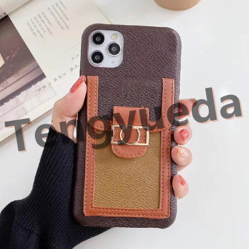 아이폰 12 12pro 최대 11 11pro xs xr xsmax 7 / 8plus 전화 케이스 최고 품질 최신 패션 가죽 카드 홀더 디자이너 핸드폰 커버 상자