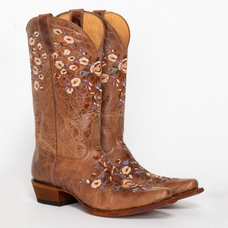 2021 Nova Moda Floral Cowgirl Bordado Knee Alto Couro Vintage Andar Sapatos Botas Mulheres Xkur