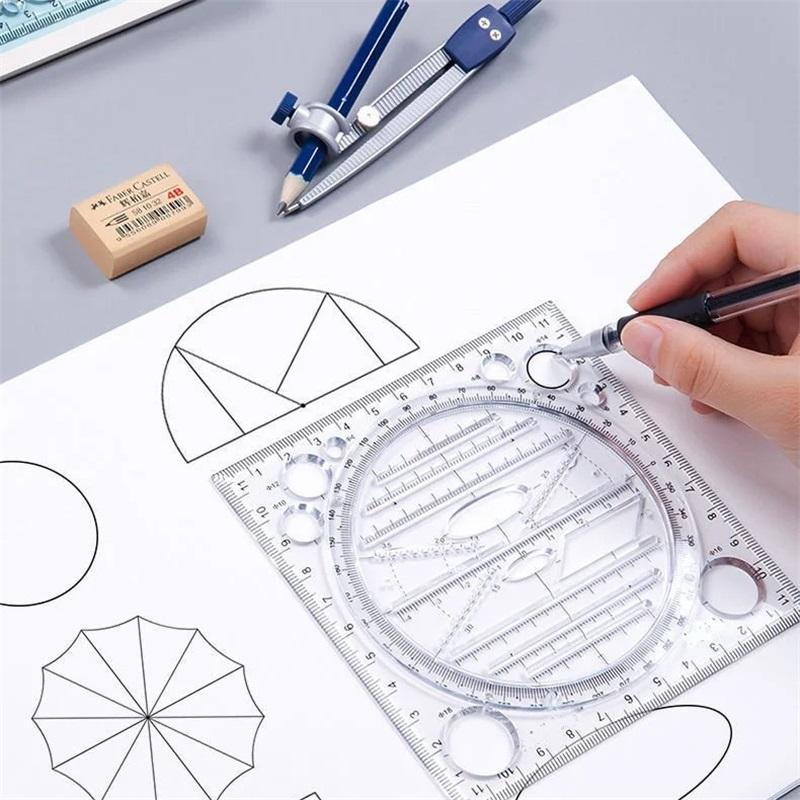 Office School Draw Tool Multifunctional Drawing Ruler Angle and Circle Maker Mathematical Geometry Template 878 B3