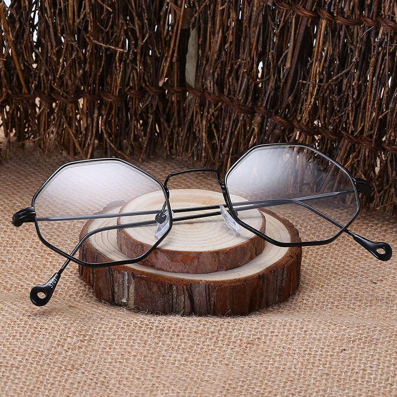 Personalidad Polygon Eyeglass Moda coreana Moda delgada Decoración Llanura Menuzada Menú Marco Menores