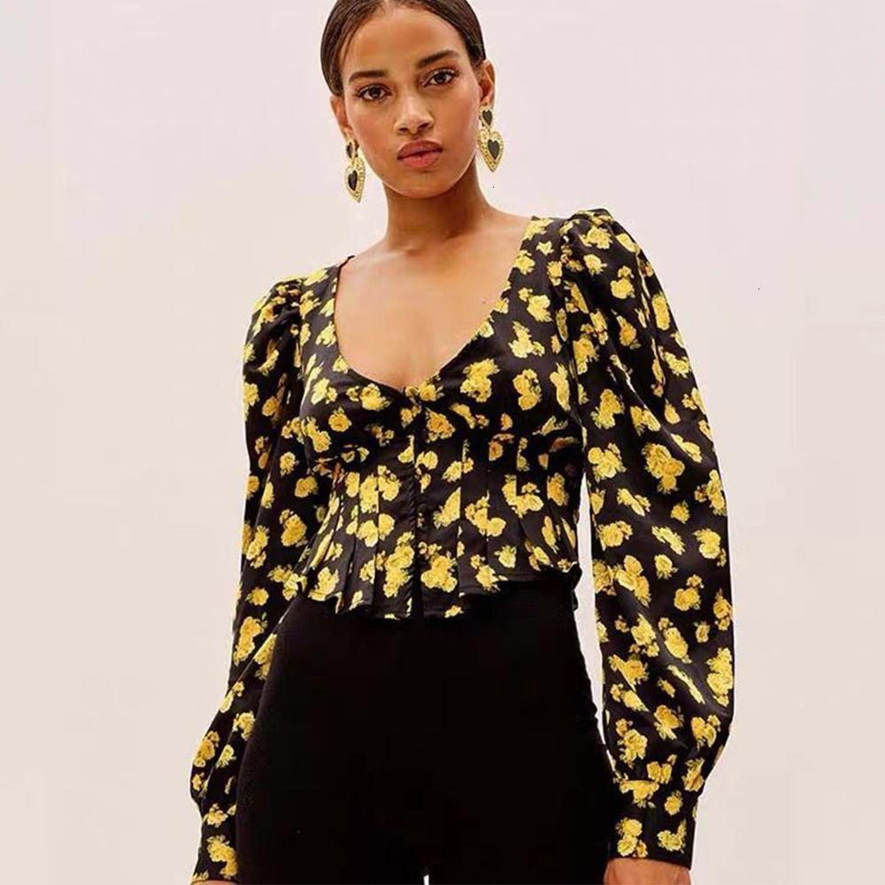 2021 nuevas mujeres primavera otoño linterna mangas mangas blusa floral impreso tops en v-cuello alta cintura oficina señora manga larga ropa exterior 9DD7