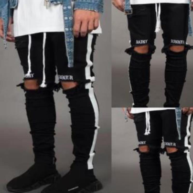 Отверстия дизайнерские джинсы карандаш брюки Джин Черный Разорванный огорченный Hommes Мужская конструкция Сплошные весенние карманы Pantalones Брюки FWQJP