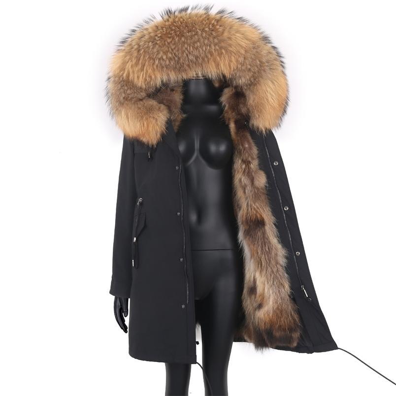 Kadınlar 7XL Kürk Parkas Kış Ceket Kaban Su Geçirmez Parka Büyük Gerçek Kürk Yaka Doğal Kürk Astar Uzun Giyim 210913