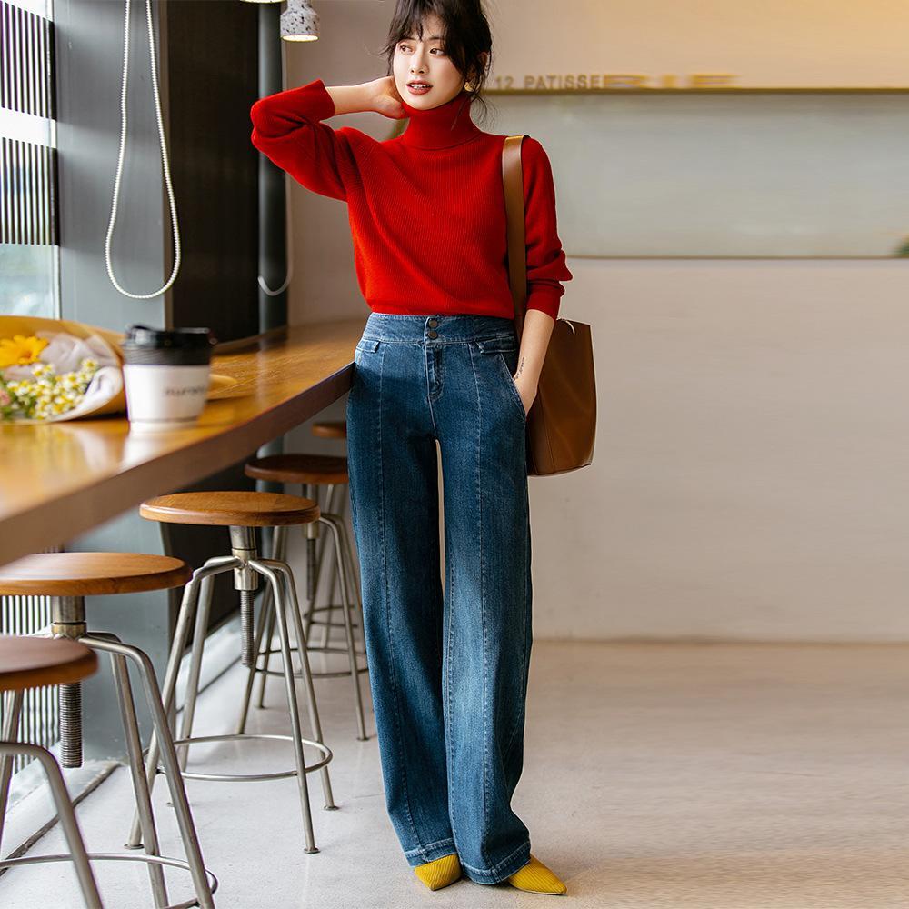 2021 Bahar Yeni kadın Büyük Bacak Gevşek Yüksek Bel Pantolon Elastik Geniş Bacak Yüksek Kot Kadın 3116