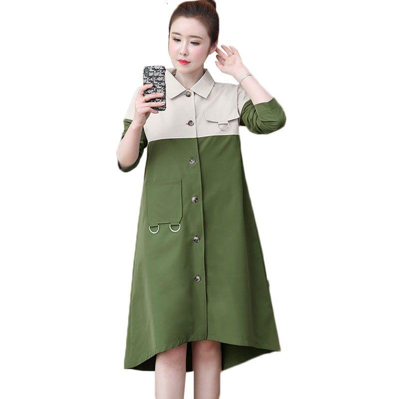 2021 Yeni 4XL Artı Boyutu kadın Rüzgarlık Sonbahar Kore Tek Göğüslü Uzun Trençkot Palto Kadın Patchwork Y306 Nnvk Tops