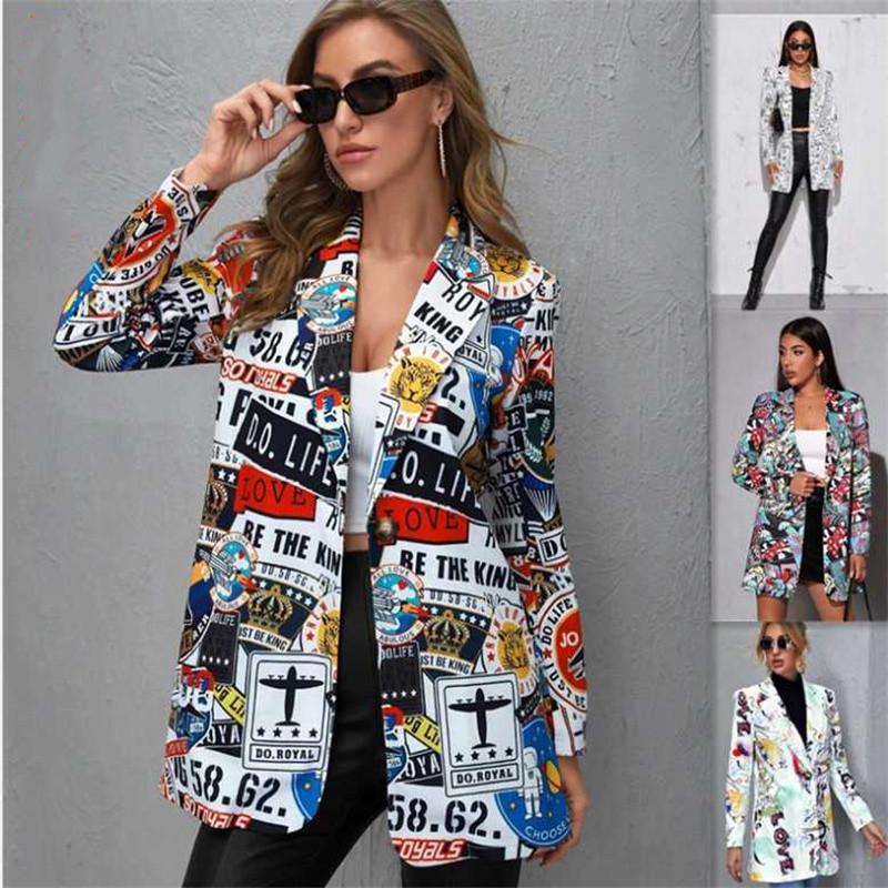 2021 İlkbahar ve Sonbahar kadın Takım Elbise Blazers Baskı Bayanlar Rahat Küçük Ceket Eğilim Tüm Maç Giyim