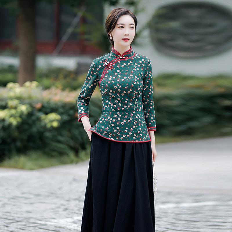 Ethnische Kleidung Weibliche Blume Print Vintage 2 stücke Qipao Anzug Wildleder Stoff Topskirt Kleid Set Elegante Mandarinkragen Neuheit Cheongsam M-5XL