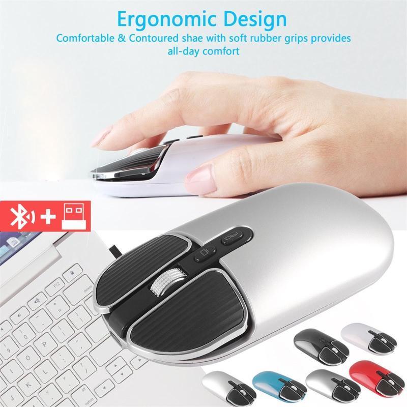 M203 Bluetooth 5.1 + 2.4g Modo inalámbrico Dual Ratón recargable Teclas silenciosas ópticas Mouse Desktop Gamer Accesorios para PC portátil