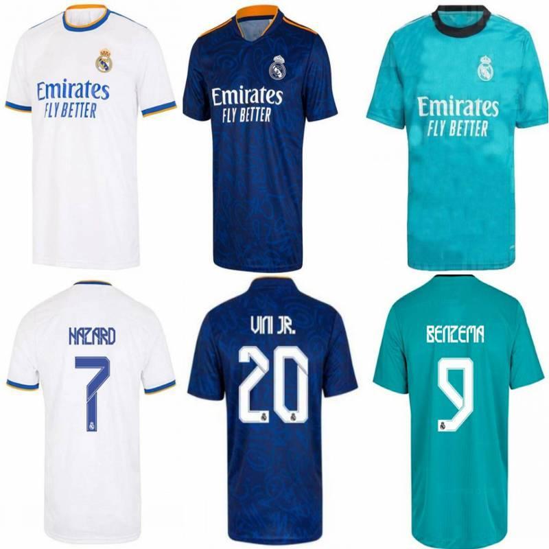 2021/22 Real Madrid Soccer Jersey 2022 Hazard Modric ISCO VINI JR. Uniform Mens Marcelo Camavinga Asensio Casemiro Terceira Camisa