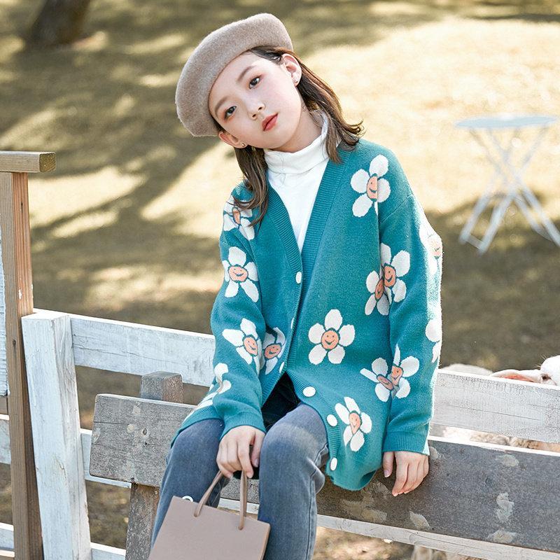 2021 Новые девочки для девочек Верхняя одежда для Miss Flower Fashion Fashion Одежда Кардиган Рубашка Пищевая Детская Зимние Пальто Осень 5-13 лет 785K